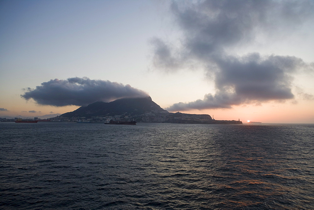Rock of Gibraltar at sunrise, Gibraltar, Europe