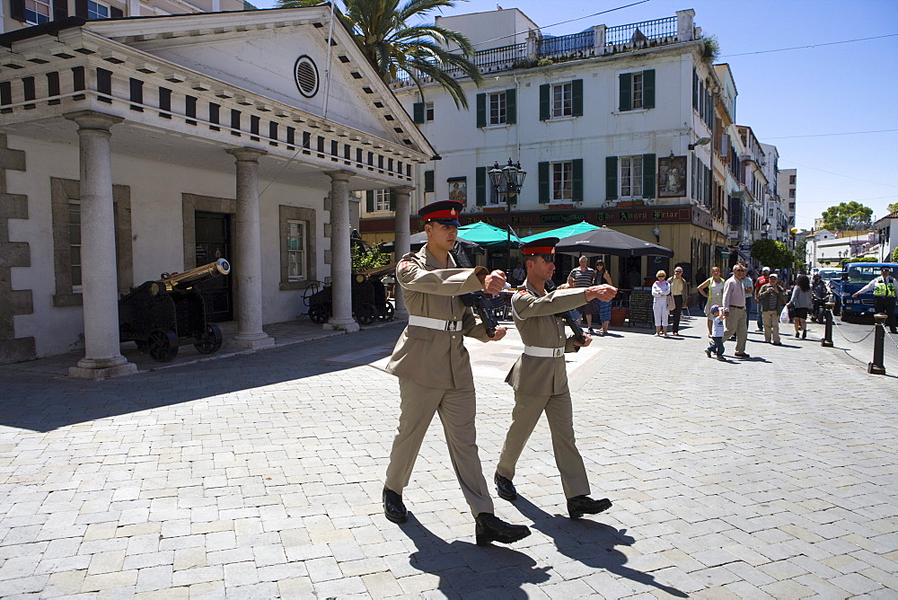 Changing of the guards at military base, Gibraltar, Europe