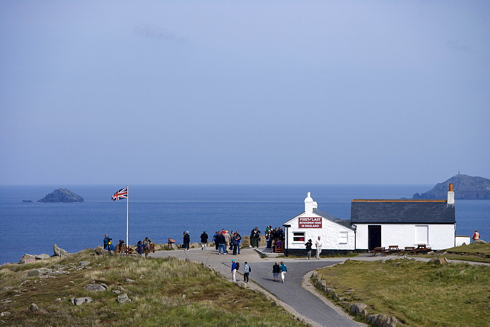 People at First and Last Refreshment House in England, Land's End, Cornwall, England, Europe