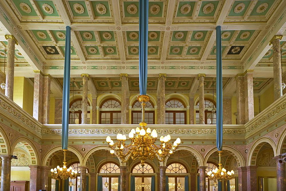 Marmorsaal im Kursaalgebaeude, Marble hall, Bad Ems an der Lahn, Bad Ems on Lahn, Rhineland-Palatinate, Germany, Europe