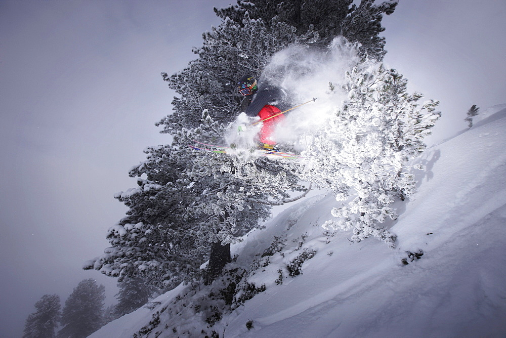 Male free skier jumping, Mayrhofen, Ziller river valley, Tyrol, Austria
