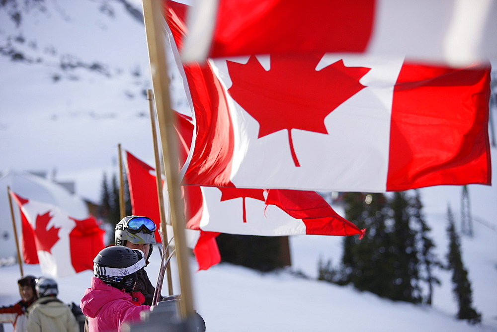 Canadian flags near Roundhouse Lodge, Whistler, British Columbia, Canada