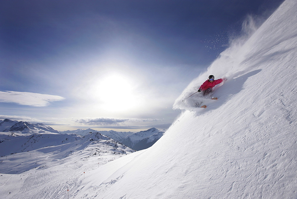 Skier, Symphony Bowl, Whistler, British Columbia, Canada