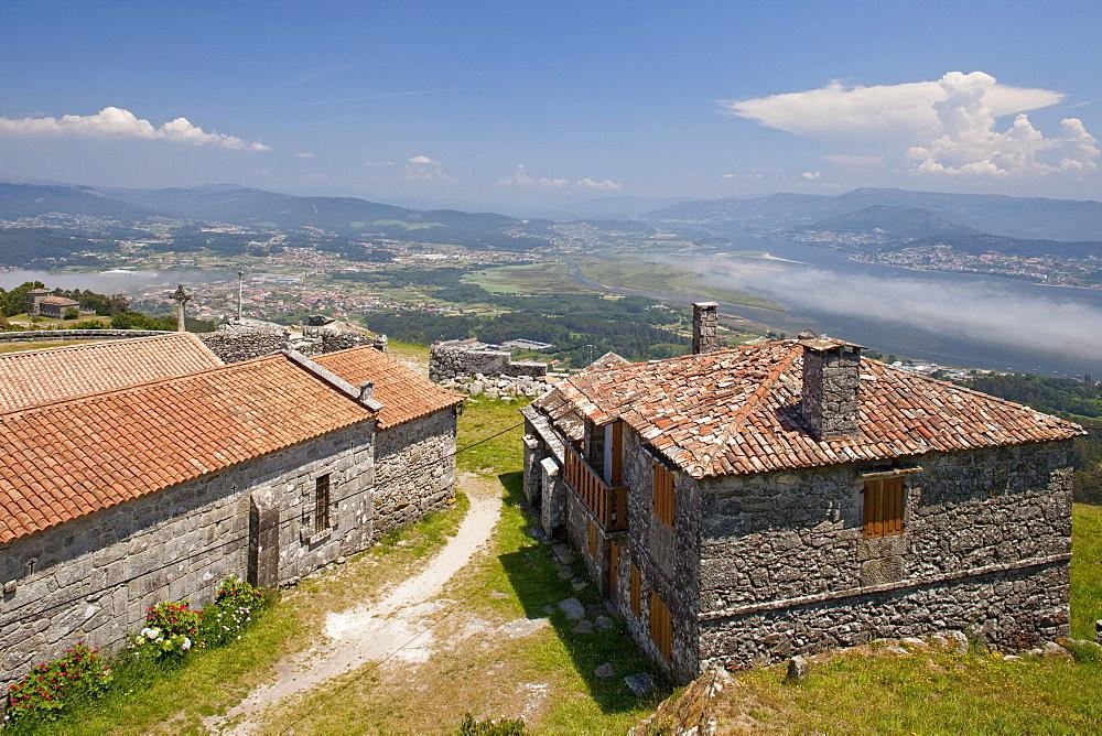 Chapel with view to Rio Mino, Monte Santa Tecla, Celts village, Camino Portugues, Way of St. James, Camino de Santiago, pilgrims way, province of Pontevedra, Galicia, Northern Spain, Spain, Europe