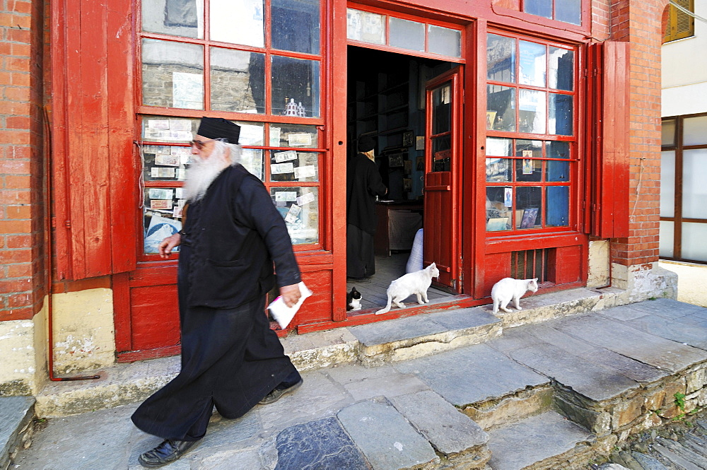 Monk in front of a shop in Karies, Athos mountain, Chalkidiki, Greece