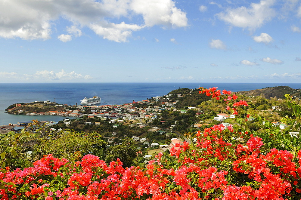 View on the Saint George harbor with a cruiser, Grenada, Caribbean