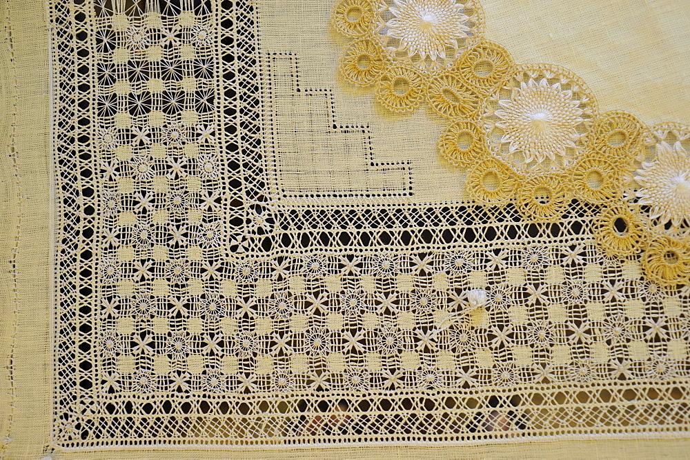 piece of embroidery in the Casa de las Balcones, La Orotava, Tenerife, Canary Islands, Spain