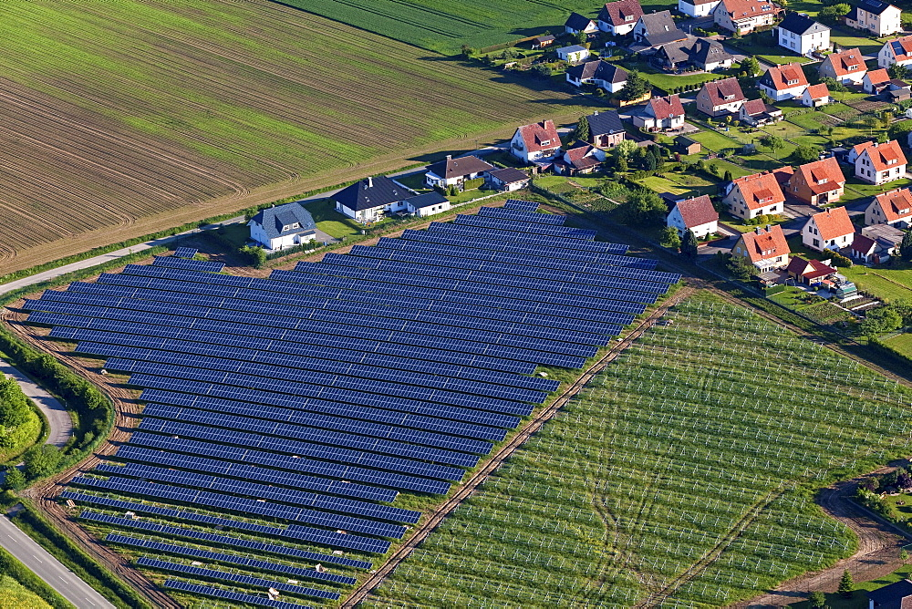 Aerial view of solar panels near Holzminden, housing settlement, Lower Saxony, Germany - 1113-39803
