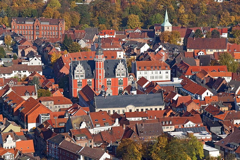 Aerial view of Helmstedt old town, Juleum Novum, former university auditorium, Weser Renaissance, Lower Saxony, Germany