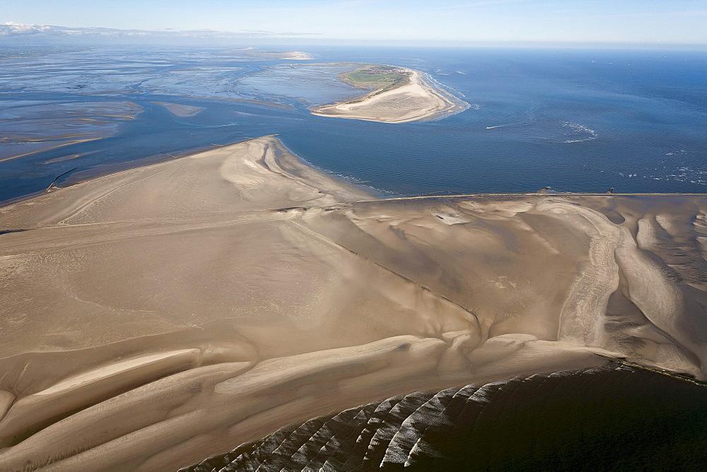 Aerial of Minsener Oog and Wangerooge, East Friesian Island, Lower Saxony, Germany