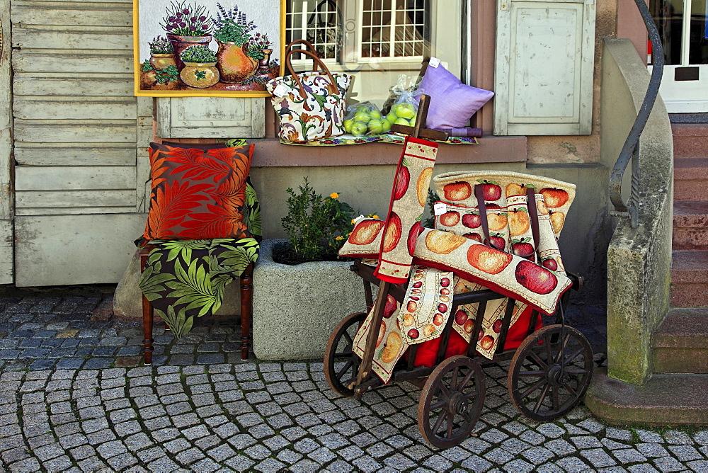 Advertising of a draper¥s shop, Endingen, Kaiserstuhl, Breisgau, Black Forest, Baden-Wuerttemberg, Germany
