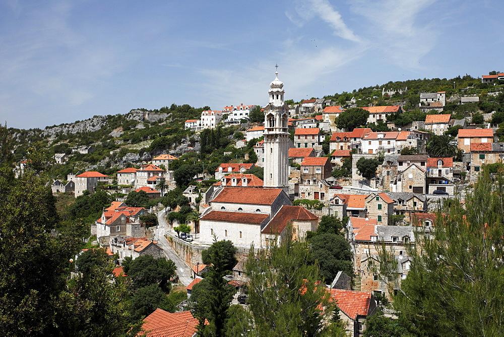 Cityscape with church, Milna, Brac, Split-Dalmatia, Croatia