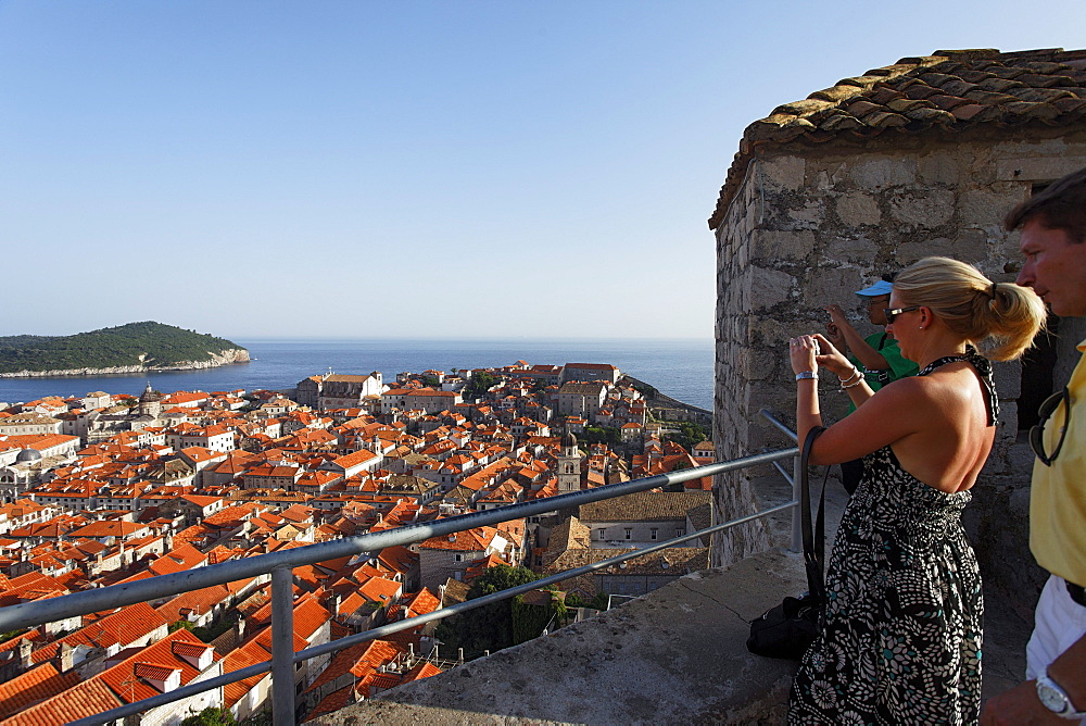 View from city wall over Old Town, Dubrovnik, Dubrovnik-Neretva county, Dolmatia, Croatia