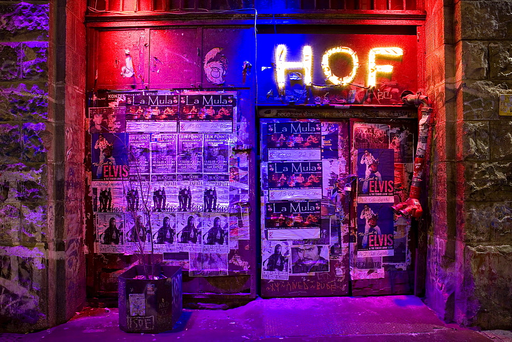 Entrance full of posters and billboards, Oranienburger Strasse, Berlin-Mitte, Berlin, Germany, Europe