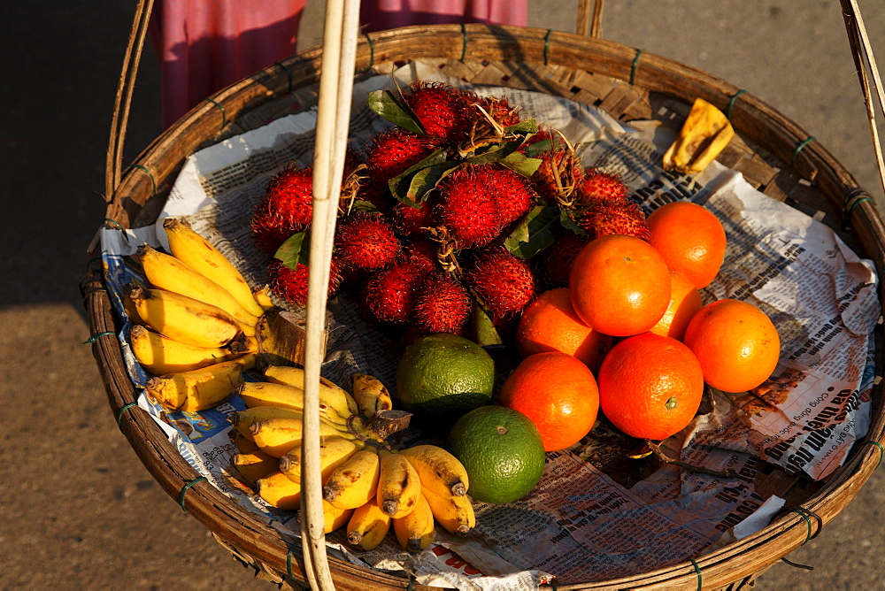 Fresh fruits in a basket, Hoi An, Annam, Vietnam