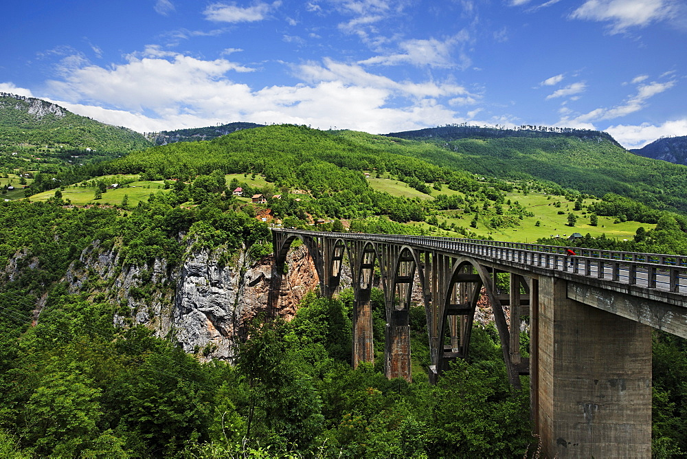 View of Tara Bridge and Tara Valley under clouded sky, Montenegro, Europe