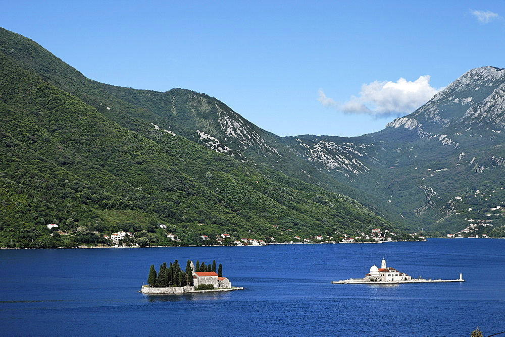 Small islands with churches in the bay of Kotor, Island Sveti Dorde and Island Gospa od Skrpjela, Montenegro, Europe