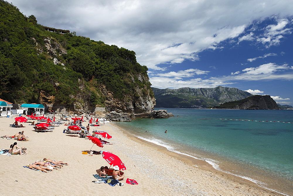 People on the beach Mogren, Budva, Montenegro, Europe