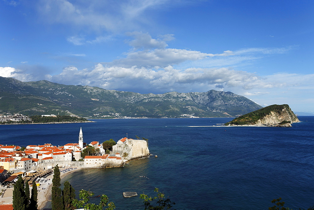 City view with bell tower of Sveti Ivana cathedral, Budva, Montenegro, Europe