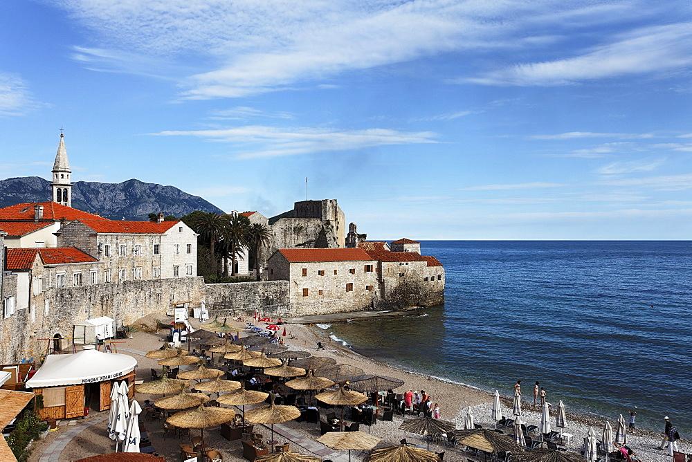 View of the citadel and city beach, Budva, Montenegro, Europe
