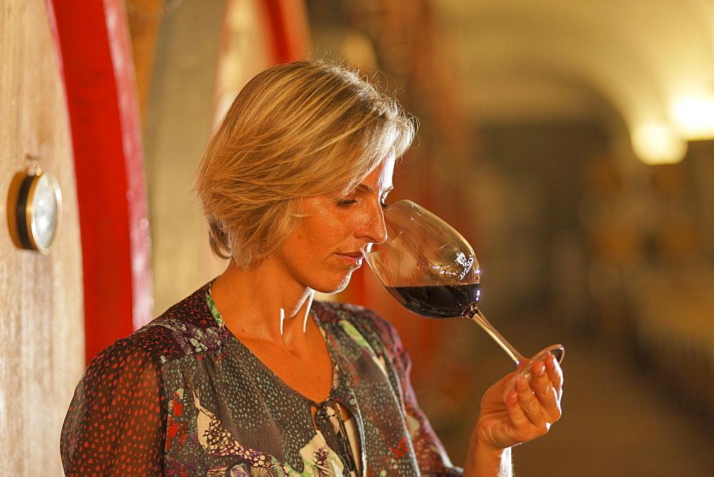 Woman, Winetasting Bardolino, Zeni Vineyard, Bardolino, Veneto, Italy