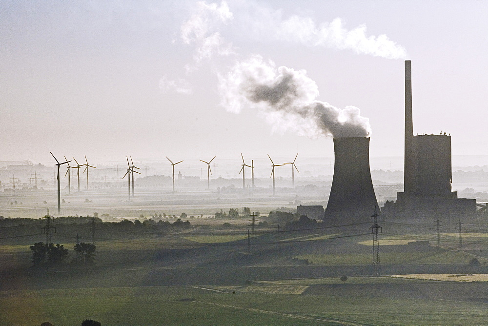 aerial view of coal power station, and wind turbines, Mehrum, Hanover, Lower saxony, northern Germany