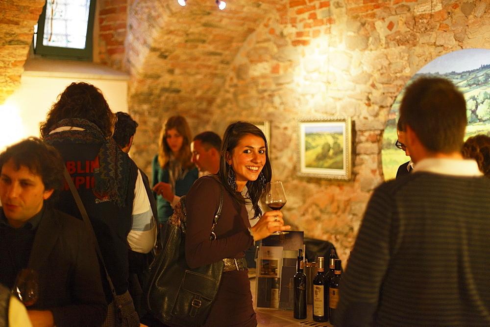 Woman, Wine tasting, La Morra, Langhe, Piedmont, Italy - 1113-41691