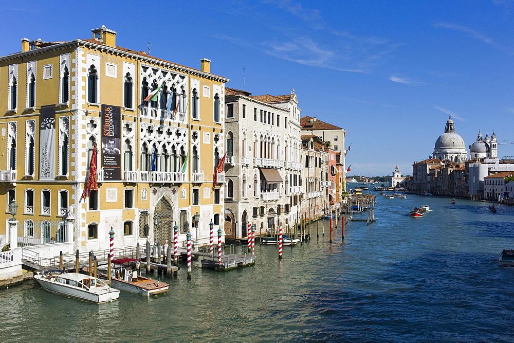 Grand Canal from Ponte dell' Accademia bridge, with Chiesa di Santa Maria della Salute in the background, Venice, Veneto, Italy, Europe