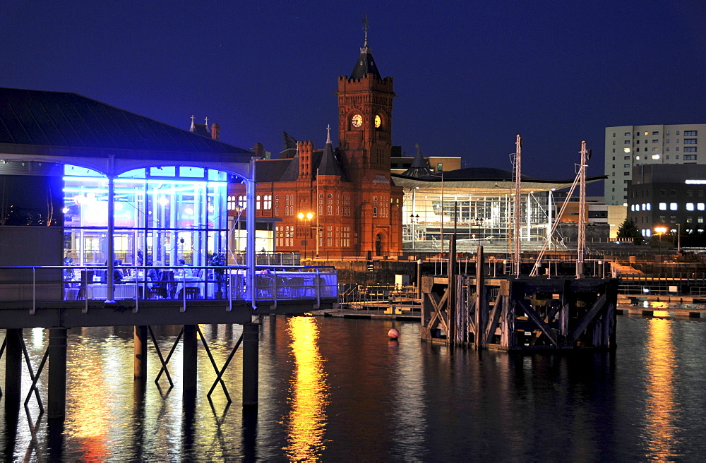 Pierhead Building and Senedd, National Assembly for Wales, Cardiff Bay, Cardiff, south-Wales, Wales, Great Britain