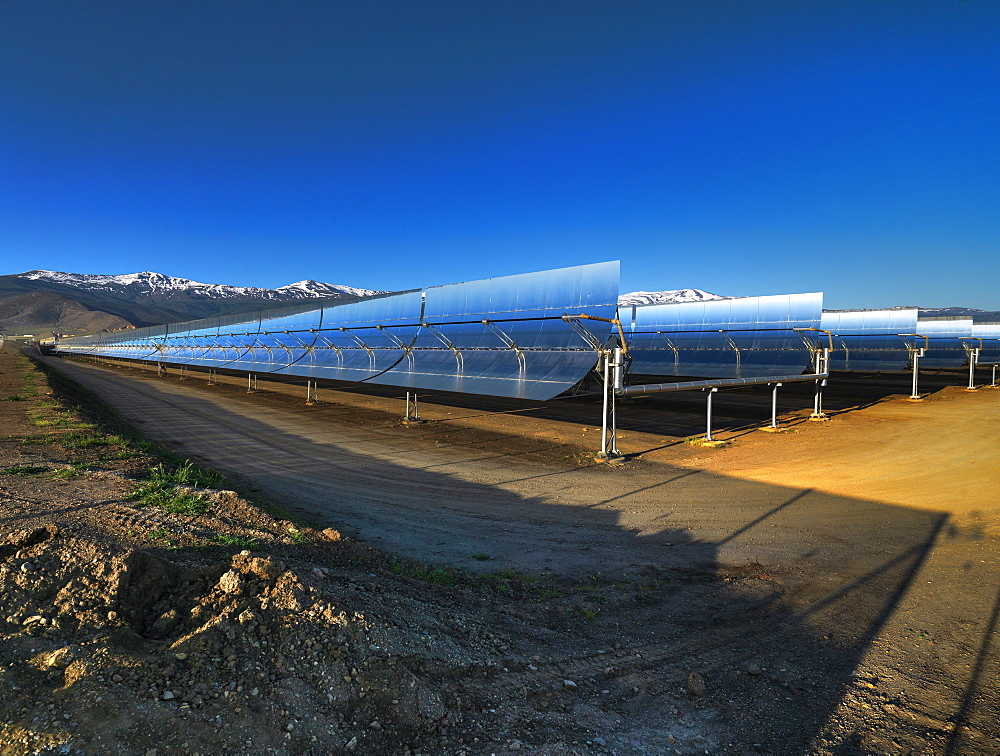 Andasol 1, the first solar parabolic trough power plant in Europe near Guadix, Calahorra, Granada, Andalusia, Spain - 1113-44243