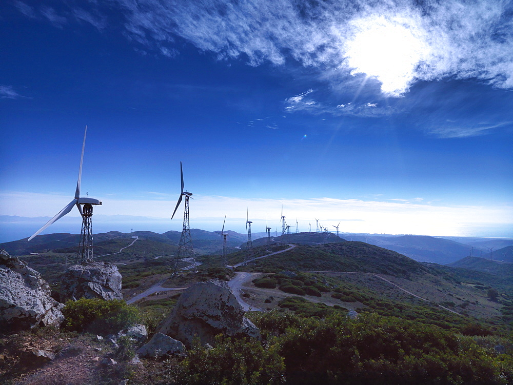 Wind energy plant, Tarifa, Strait of Gibraltar, Andalusia, Spain