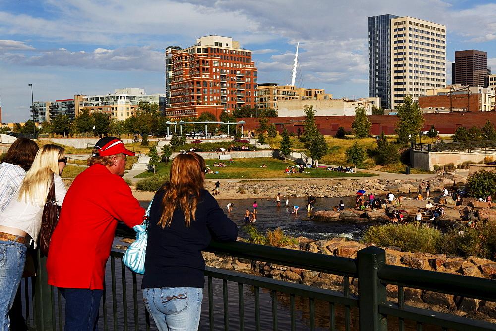 Skyline view and Platte River, DenverColorado, USA, North America, America