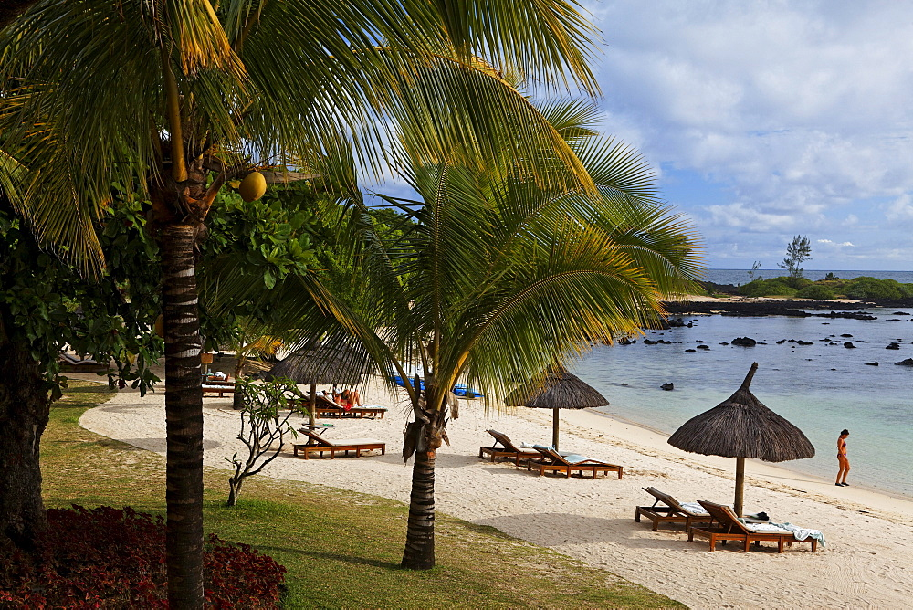 View at the beach of the Shanti Maurice Resort, Souillac, Mauritius, Africa