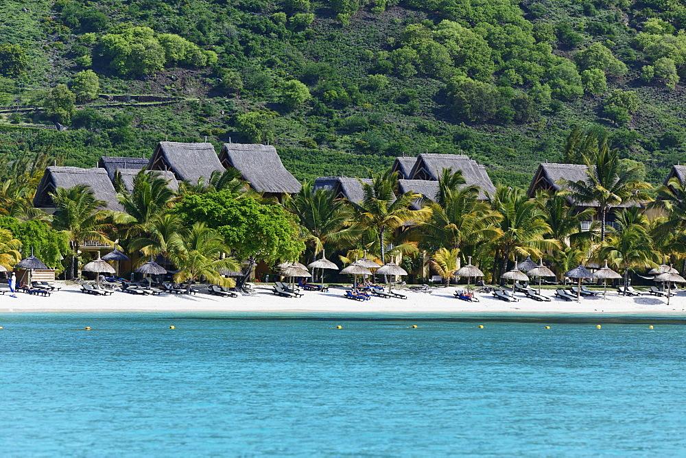View of the beach of Beachcomber Hotel Paradis & Golf Club, Mauritius, Africa