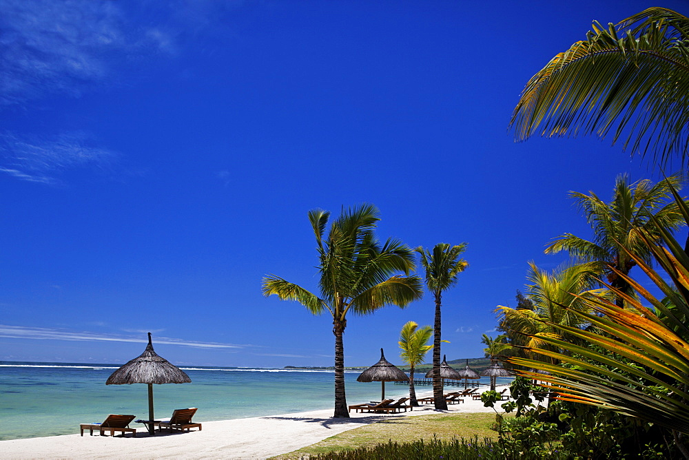 Beach of the Shanti Maurice Resort in the sunlight, Souillac, Mauritius, Africa