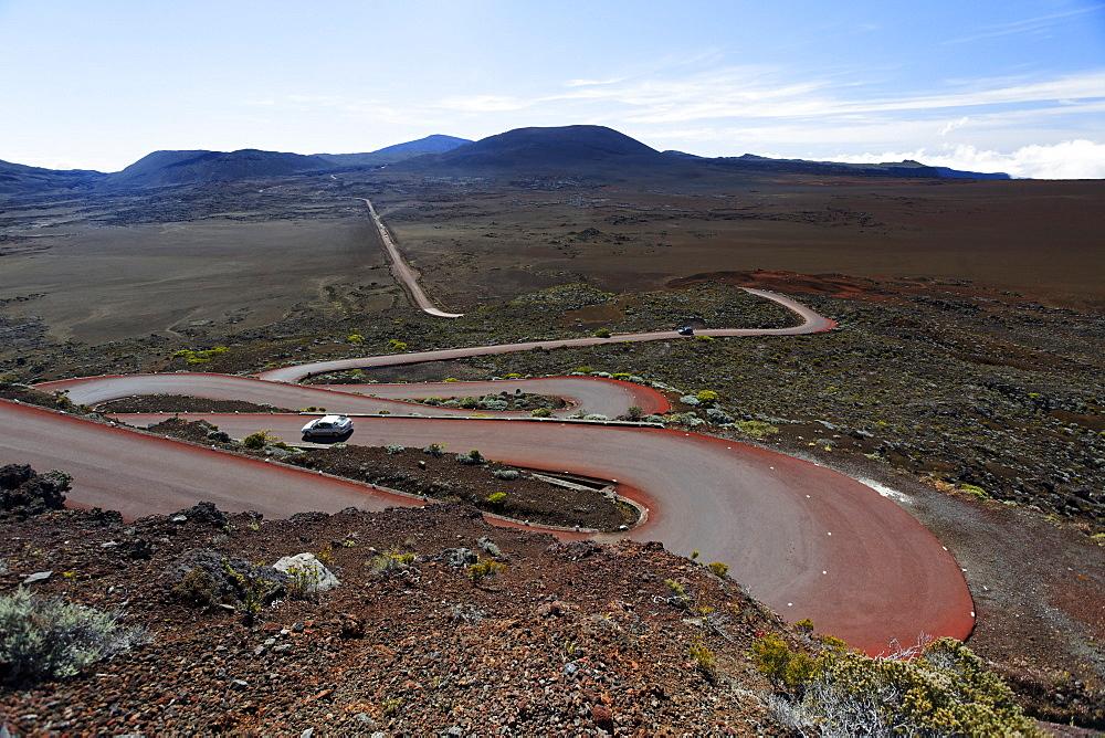 View at country road in a plain, Plaine des Sables, La Reunion, Indian Ocean