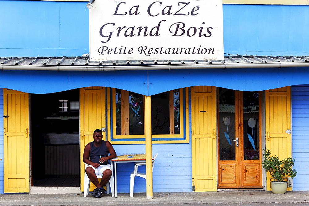 Terrace of a creole bistro, Grand Bois, La Reunion, Indian Ocean
