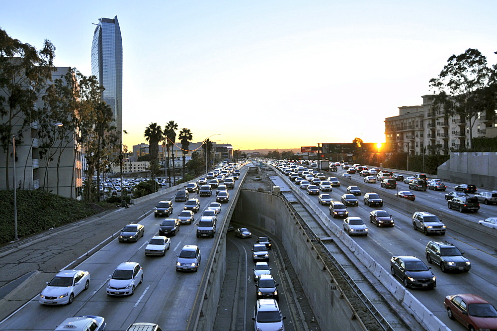 Freeway in downtown at sunset, Los Angeles, California, USA, America