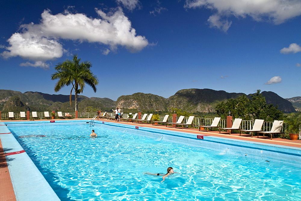 Vinales Valley, Pool Hotel Jaminez, Province Pinar del Rio, Cuba, Greater Antilles, Antilles, Carribean, West Indies, Central America, North America, America