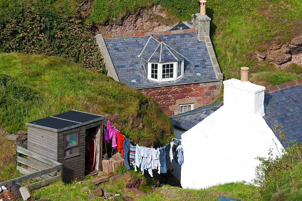 Washing hung up on the line, village of Penang, Aberdeenshire, Scotland