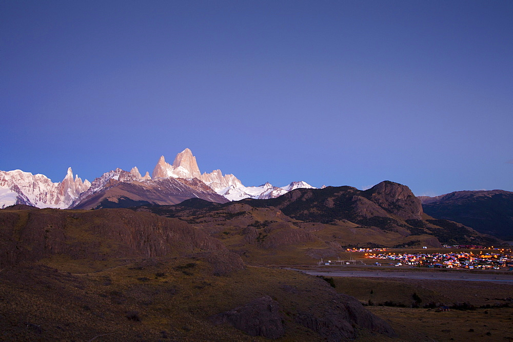 Cerro Torre and Mt. Fitz Roy at dawn before sunrise, Los Glaciares National Park, near El Chalten, Patagonia, Argentina