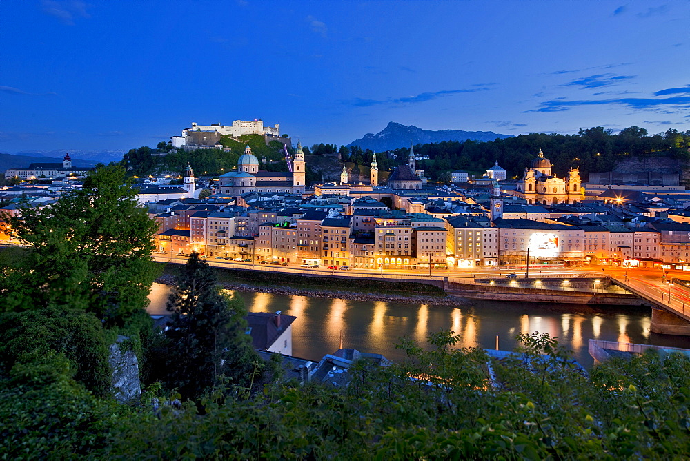 View of the illuminated city of Salzburg in the evening, Province of Salzburg, Austria, Europe