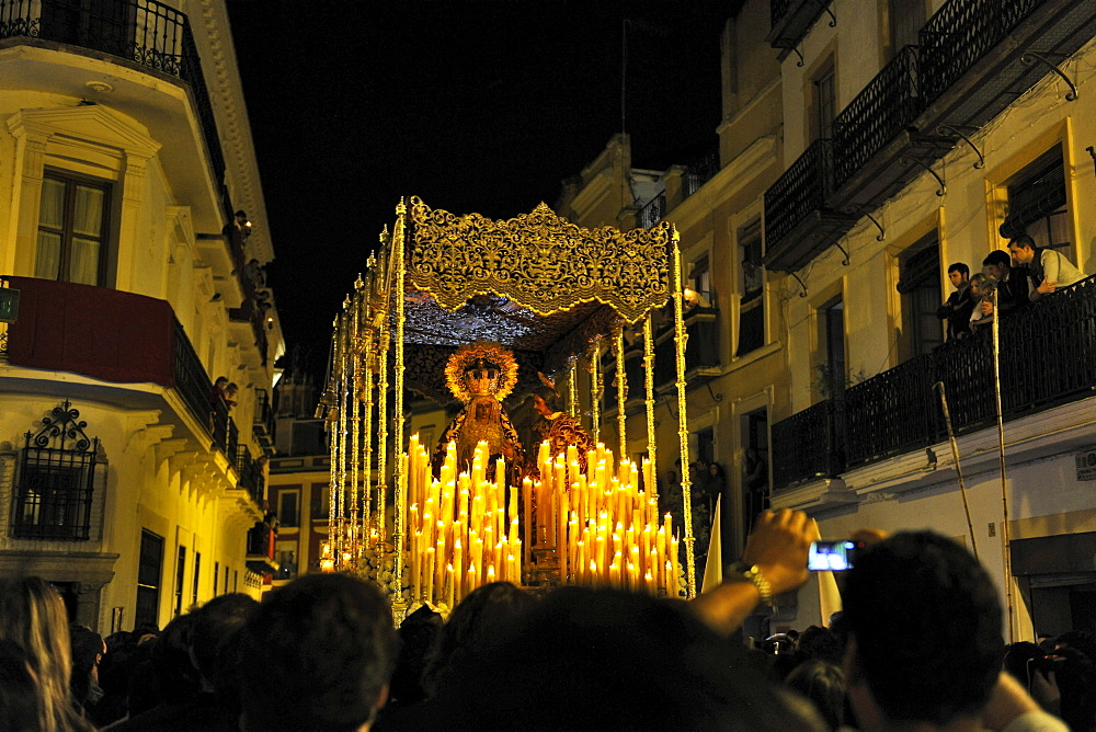 People at the procession on Palm Sunday at night, Sevilla, Andalusia, Spain, Europe