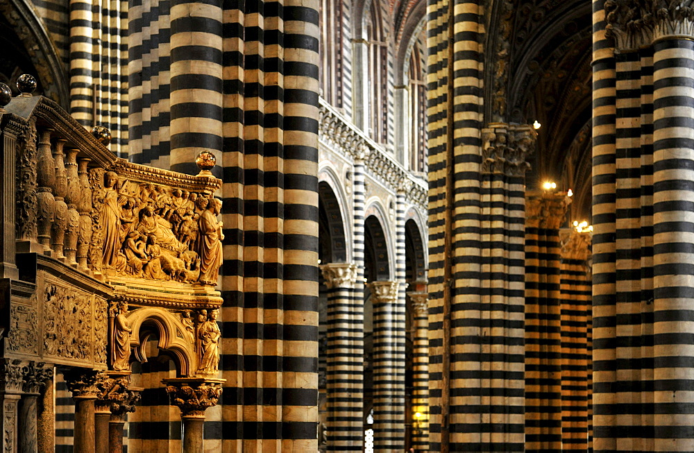 Interior view of the cathedral, Siena, Tuscany, Italy, Europe