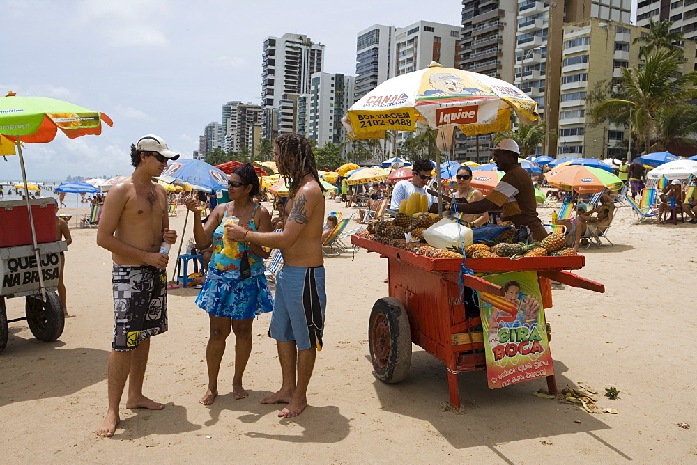 Pineapple Vendor with cart on the beach, Recife, Pernambuco, Brazil, South America