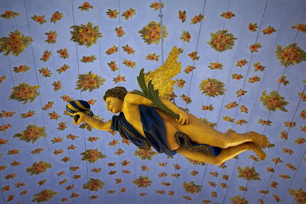 Angel inside the church, Kloster, Hiddensee island, Baltic Sea, Mecklenburg-West Pomerania, Germany