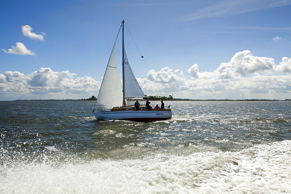Sailing boat crossing from Ruegen island to Hiddensee island, Baltic Sea, Mecklenburg-West Pomerania, Germany