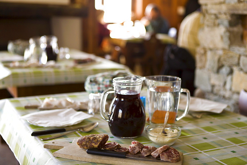 Lunch with salami and wine, Rifugio Agrituristico Salvin, Monastero di Lanzo, Piedmont, Italy