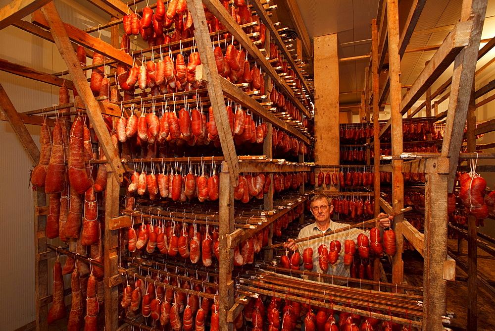 Sobrasada sausage manufacturing La Luna, Embotits Aguilo, since 1900, Soller, town, Serra de Tramuntana, Tramuntana mountains, Mallorca, Balearic Islands, Spain, Europe