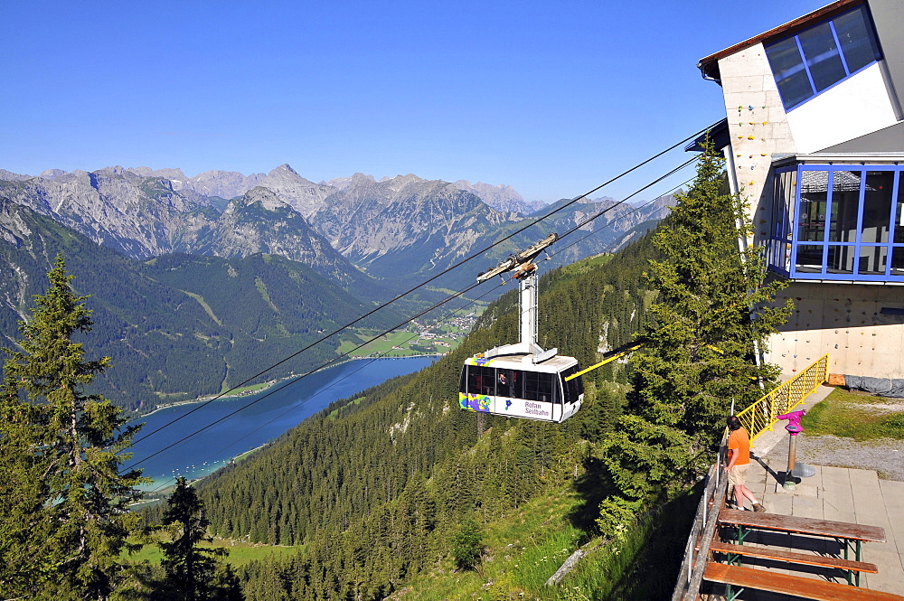 Cablecar to the Rofan over Maurach at lake Achensee, Tyrol, Austria, Europe